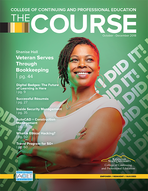 Catalog cover with Bookkeeper graduate Shanise Hall