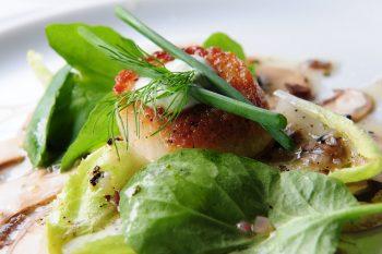 Mushroom Carpaccio with Seared Day Boat Scallop and Truffle Vinaigrette