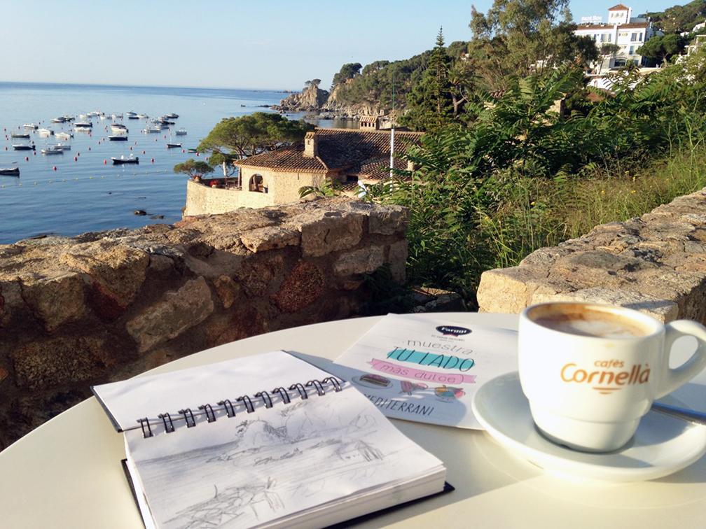 Hotel patio in Calella on the Costa Brava, a small fishing village