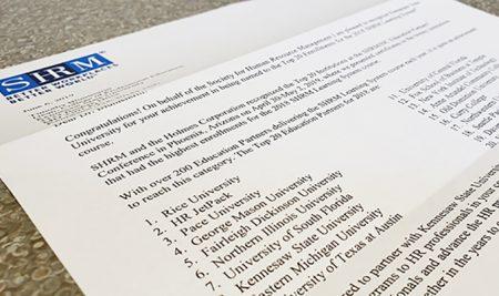Dean's Desk: CPE Ranked in SHRM's Top Enrollment Institutions